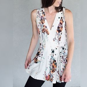Free People Floral Starry Tunic Wrap Top